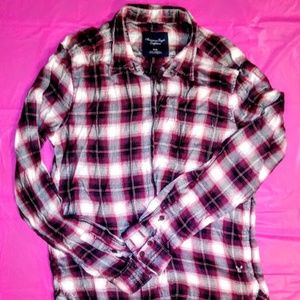 American Eagle Outfitters Dark Red Plaid Shirt
